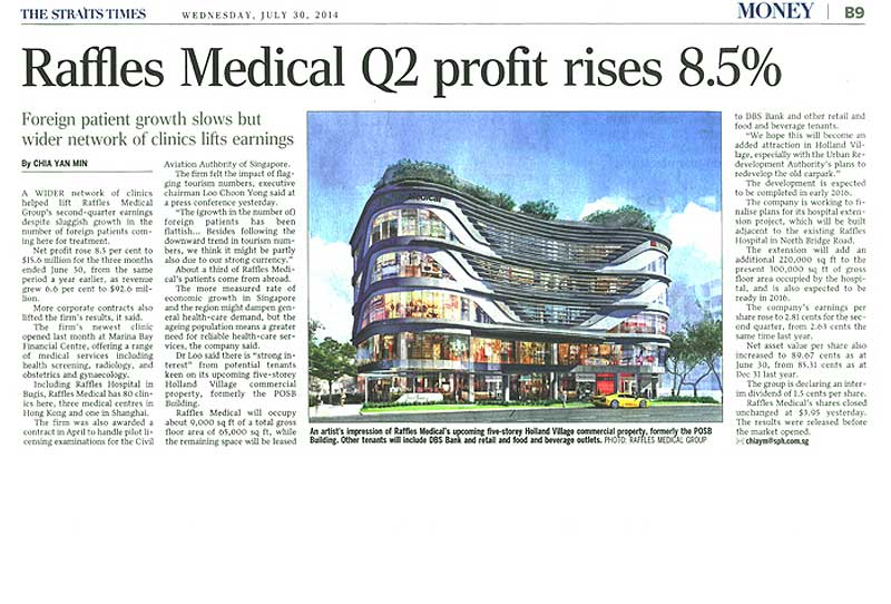 Raffles Medical Q2 Profit Rises 8.5%